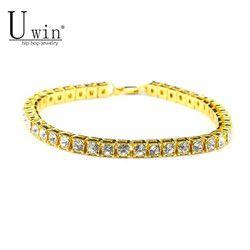 UWIN 8inch Hip hop Men Bracelet Silver/Gold Iced Out 1 Row Rhinestones Chain Bling Crystal Bracelet Women 20cm Drop Shipping