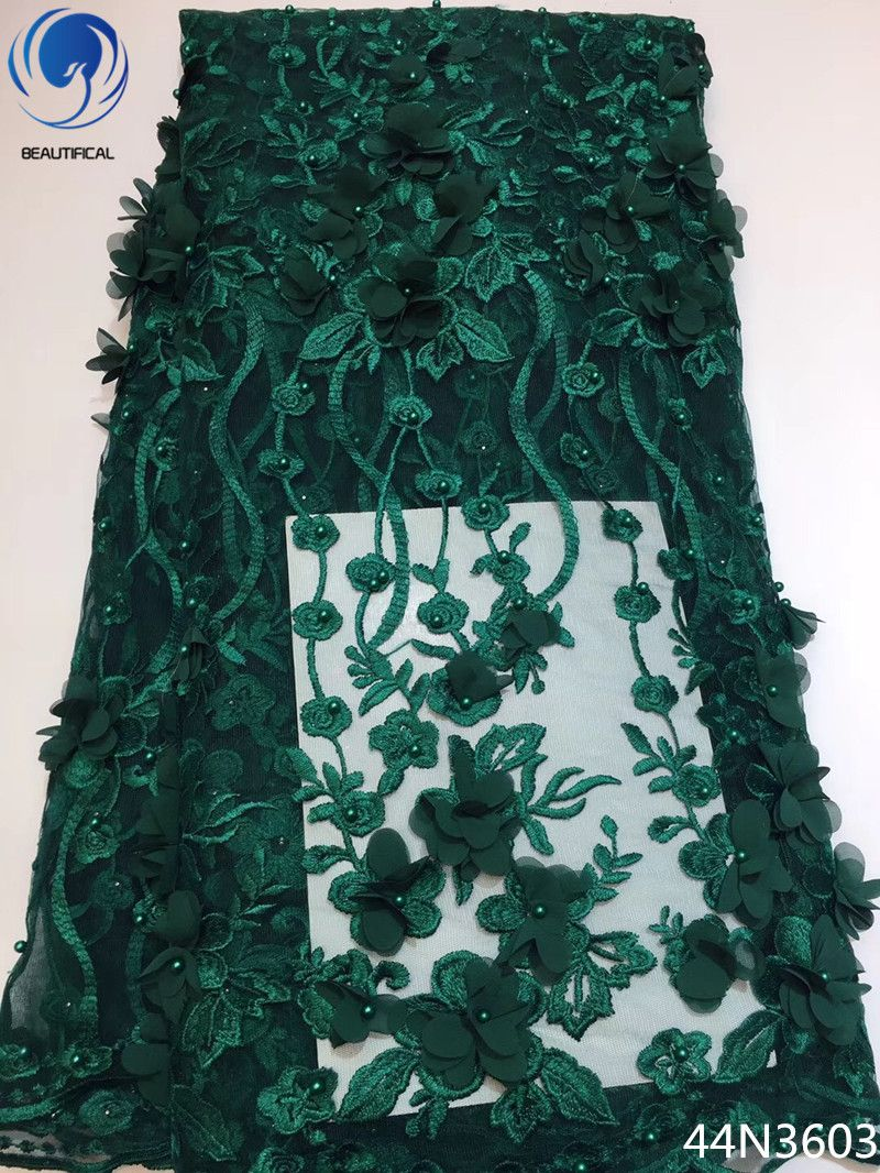 Beautifical Green 3d lace fabric french lace net fabrics african tulle lace fabric wedding fabric with beads 5 yards/piece 44N36