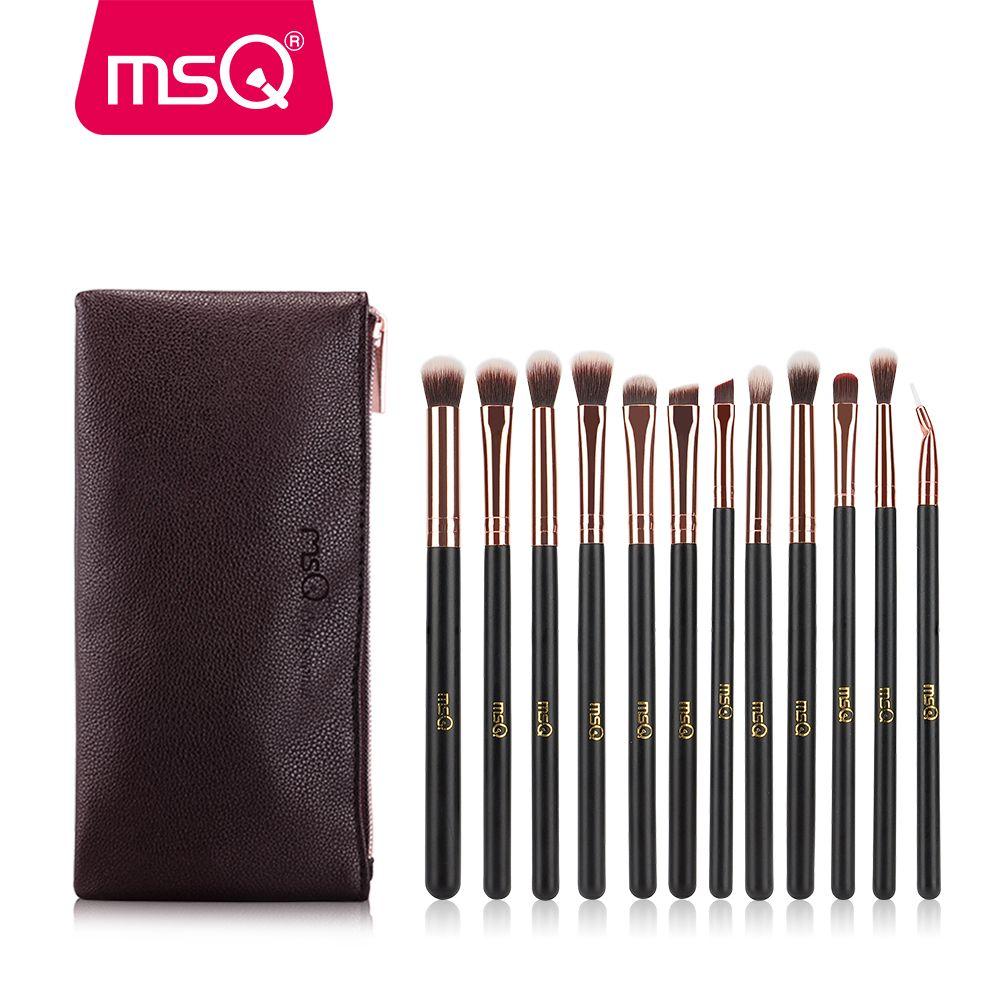 MSQ 12 pièces Maquillage Des Yeux Brosse de Rose Or Professionnel Fard À Paupières de Mélange Pinceaux de Maquillage Synthétique Souple Cheveux Avec PU cas