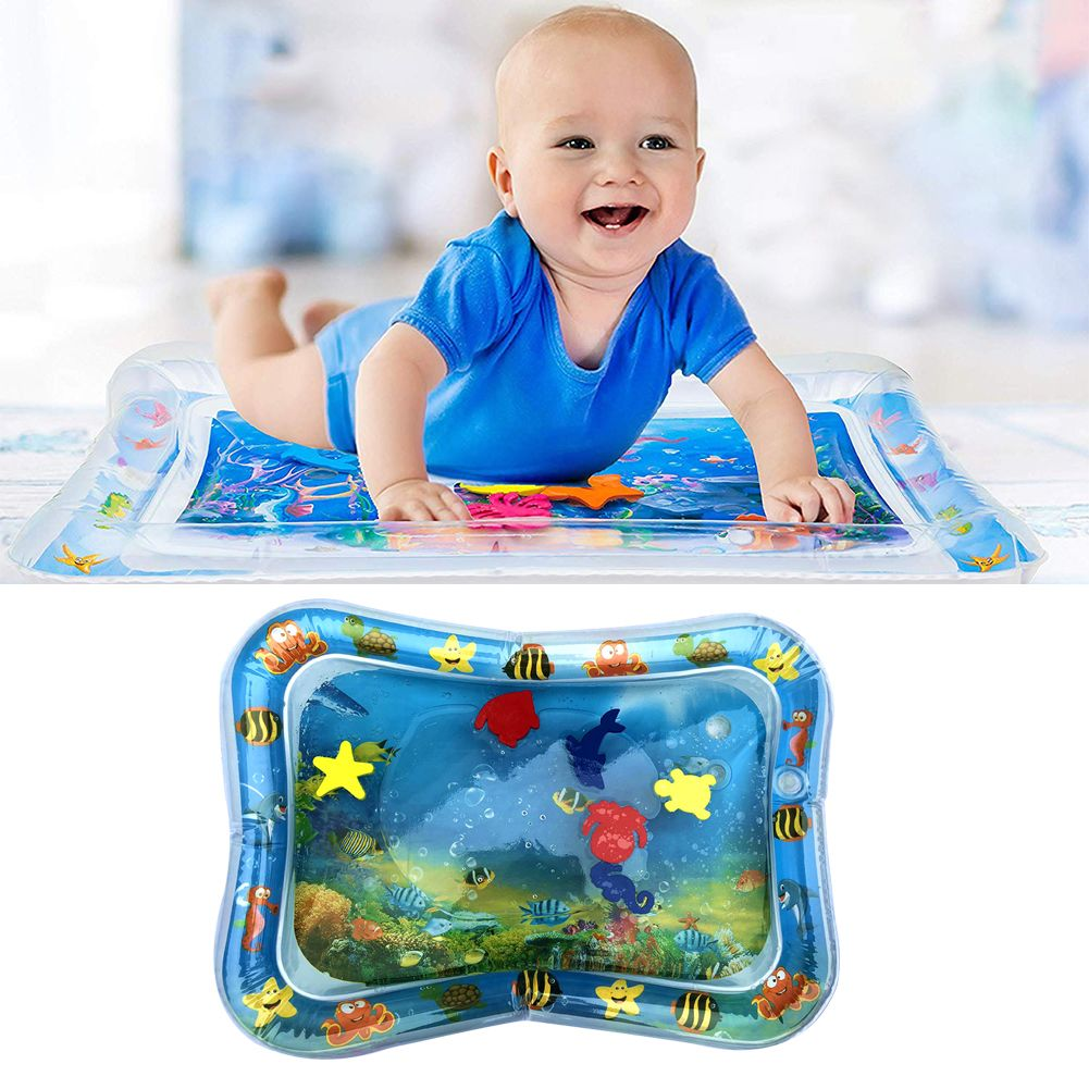 Baby Kids Water Play Mat Inflatable Thicken PVC Infant Tummy Time Playmat Toddler Fun Activity Play Center Water Mat for Babies