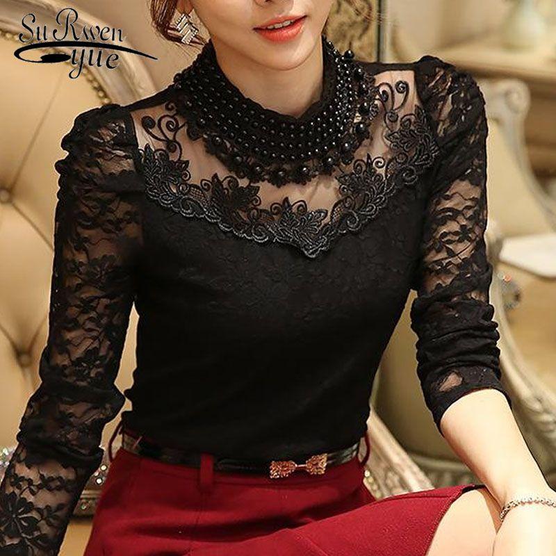 2017 nouvelle mode à manches longues blouse chemises femmes mode perlé Blusas femininas Sexy grande taille couverture en dentelle femmes vêtements 800B 25
