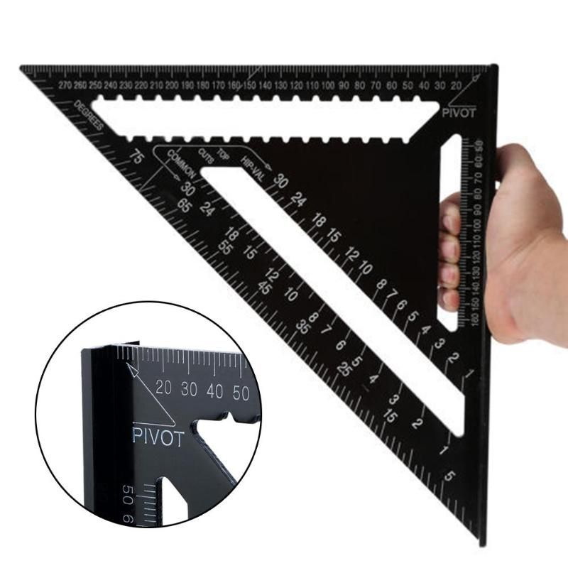 7/12inch High-Precision Triangle Ruler for Woodworking Aluminum Alloy Quick Read Square Layout Gauge Measuring Tool Ruler