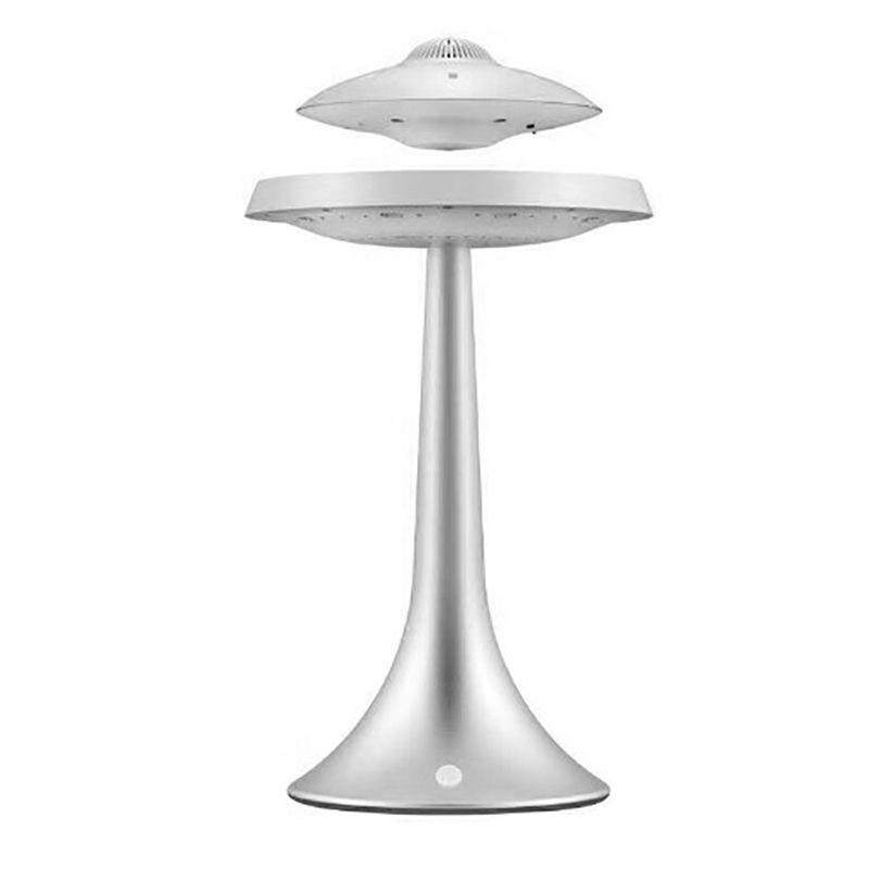 Magnetische Suspension Sound Ufo Stil Sieben Farbe Led-leuchten Smart Bluetooth Lautsprecher Bass Drahtlose Lade Lautsprecher-Eu-Stecker