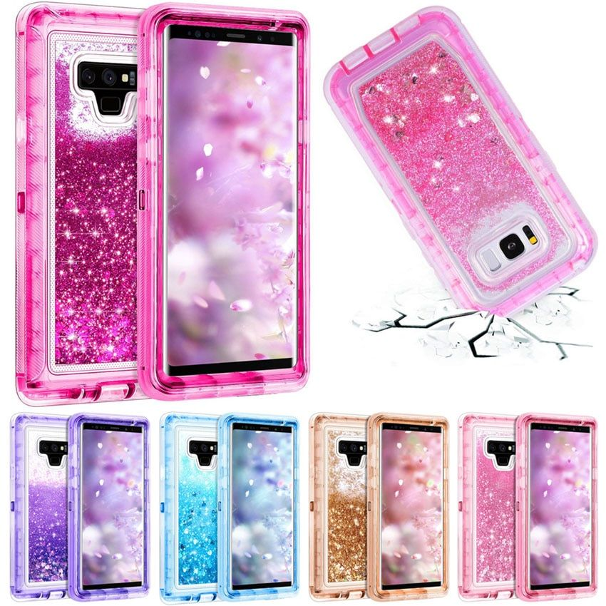 3 dans 1 Glitter 3D Bling Étincelle Qui Coule Quicksand Liquide Transparent Antichoc TPU Couverture Pour Galaxy Note 9 Note 8 s9 + S8 Cas