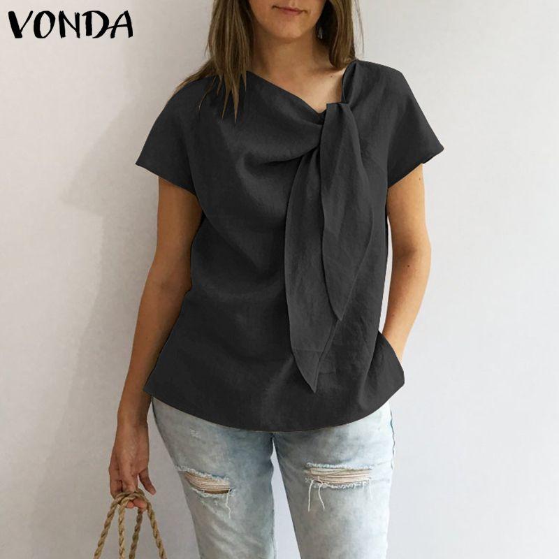 VONDA femmes Blouses chemises 2019 été Vintage O cou à manches courtes chemise décontracté lâche solide hauts grande taille femme Blusas