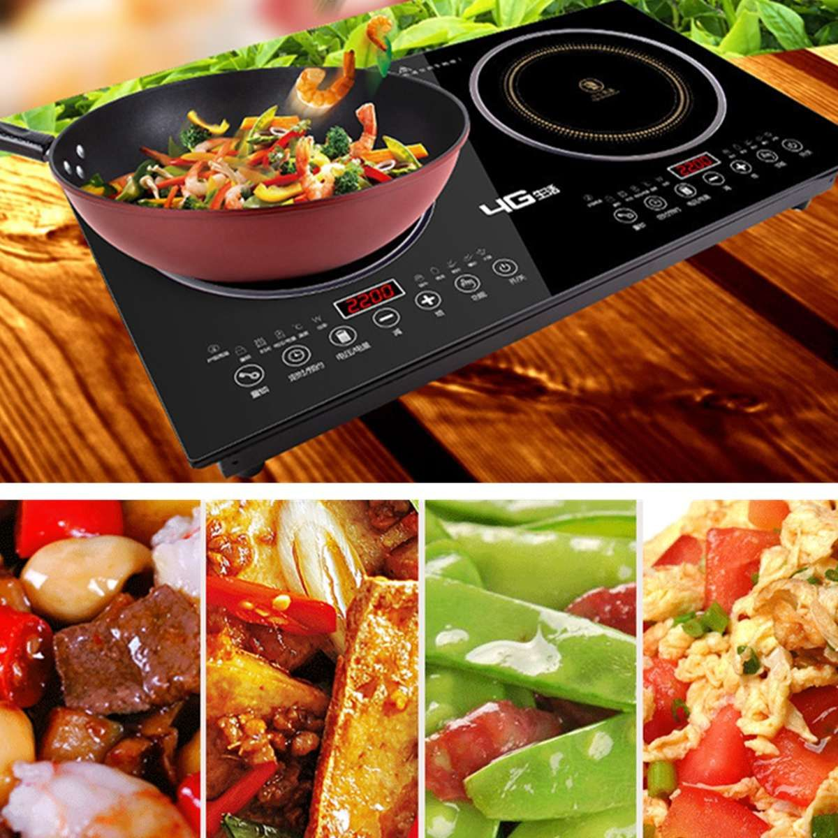 Dual-Head Cooker 2200w*2 Double Head Hot Plate Electric Induction Cooker/Cooktop/Stove/Cookware/Hob/Ceramic Free Shipping