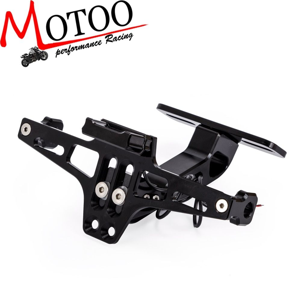 Universal CNC Aluminum Motorcycle Adjustable Angle Rear License Number Plate Mount Holder Bracket with LED Light For Z750 R3