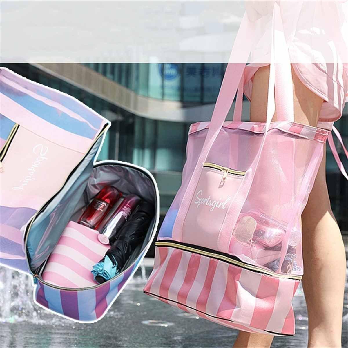 Imperméable à l'eau natation maille sac plage sacs à bandoulière sec humide sacs à main séparés pour les femmes grand fourre-tout poignée sac Yoga stockage paquet