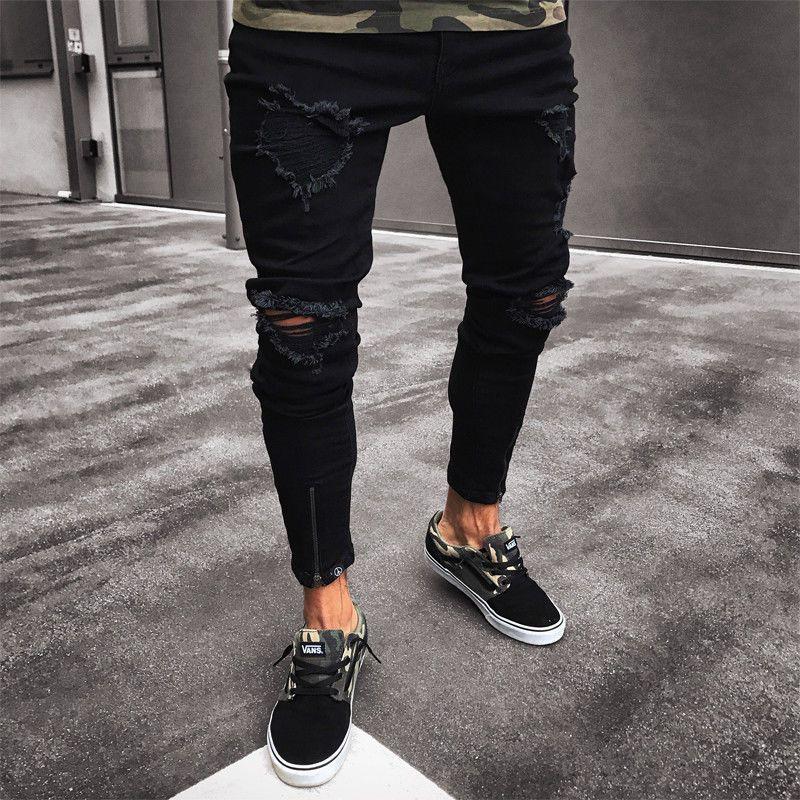 Hommes Cool Designer marque noir Jeans Skinny déchiré Stretch Slim Fit Hop Hop pantalon avec des trous pour les hommes