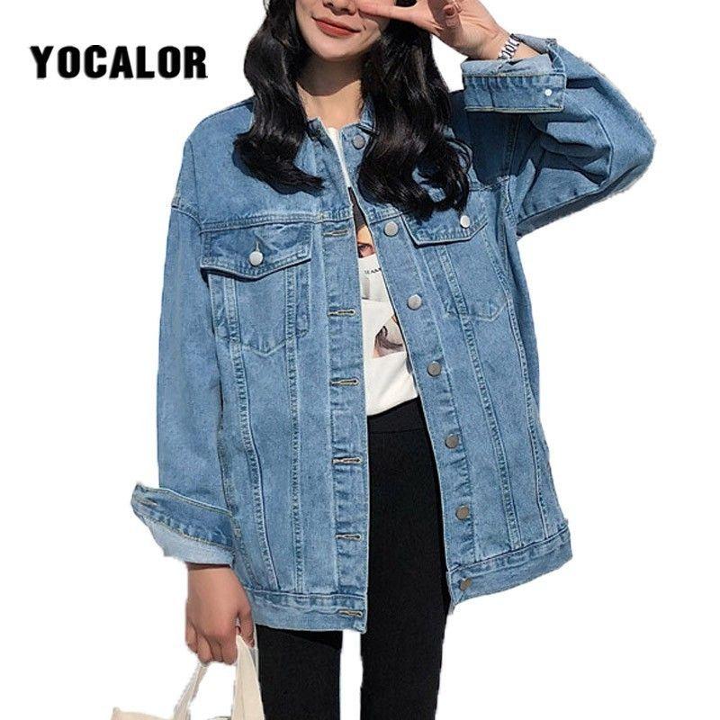 YOCALOR solide Jean Jeans veste pour femmes lâche décontracté bleu femmes manteaux vêtements d'extérieur pour femmes Denim féminin Chaqueta Mujer manteau automne