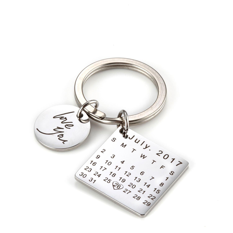 Personnalisé personnalisé gravé calendrier porte-clés sculpté à la main Date porte-clés pour fête des pères cadeau d'anniversaire bricolage porte-clés privé