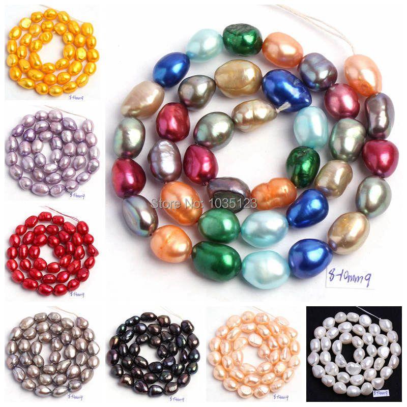 Livraison gratuite 18 couleurs 8-9mm multicolore naturel perle d'eau douce forme irrégulière perles en vrac brin 14