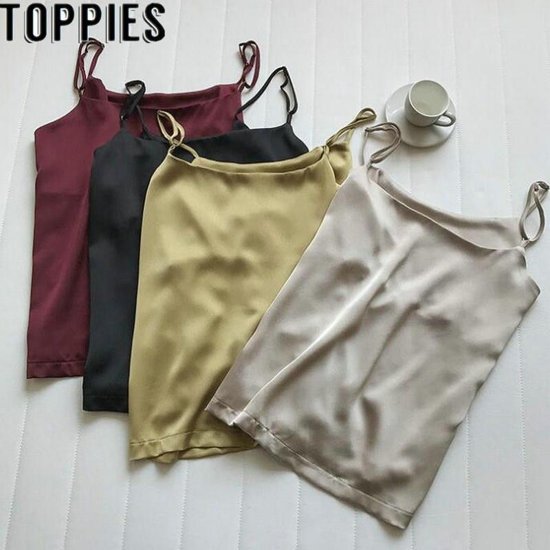 2019 Summer Women Sexy Satin Camis Vintage Luxury Imitation Silk Shiny Camisole Solid Color Tank Tops