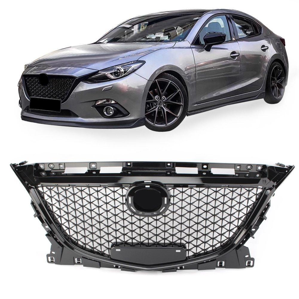 For Mazda 3 Axela 2014 2015 2016 Front Upper Grille Honeycomb Grill Black