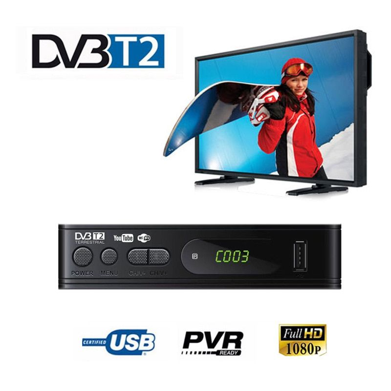 DVB-T2 Tuner Receiver HDMI HD 1080PSatellite Decoder TV TV Tuner DVB T2 USB2.0 Built-in Russian Manual For Monitor Adapter