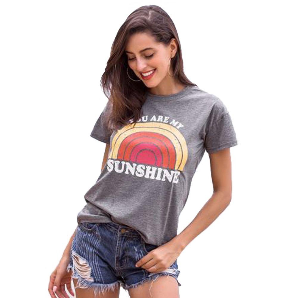 T-Shirt femmes vous êtes mon soleil arc-en-ciel imprimé T-Shirt femme o-cou Harajuku T-Shirt dames hauts camiseta mujer femmes vêtements