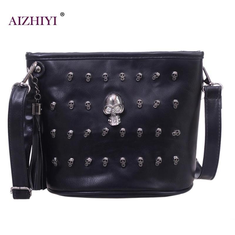 Skull Design Women Messenger Bags Handbags Shoulder Bag Satchel Clutch Girl Black PU Leather Crossbody Bag Bolsas Borse Feminina