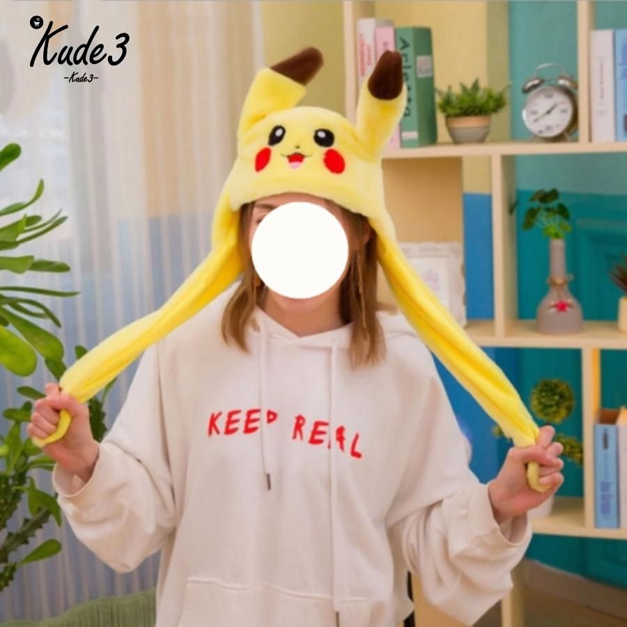 1 pc 60 cm drôle pour Pikachu et lapin chapeau avec oreilles en mouvement peluche jouet peluche doux créatif chapeau poupée mignon cadeau d'anniversaire 8446