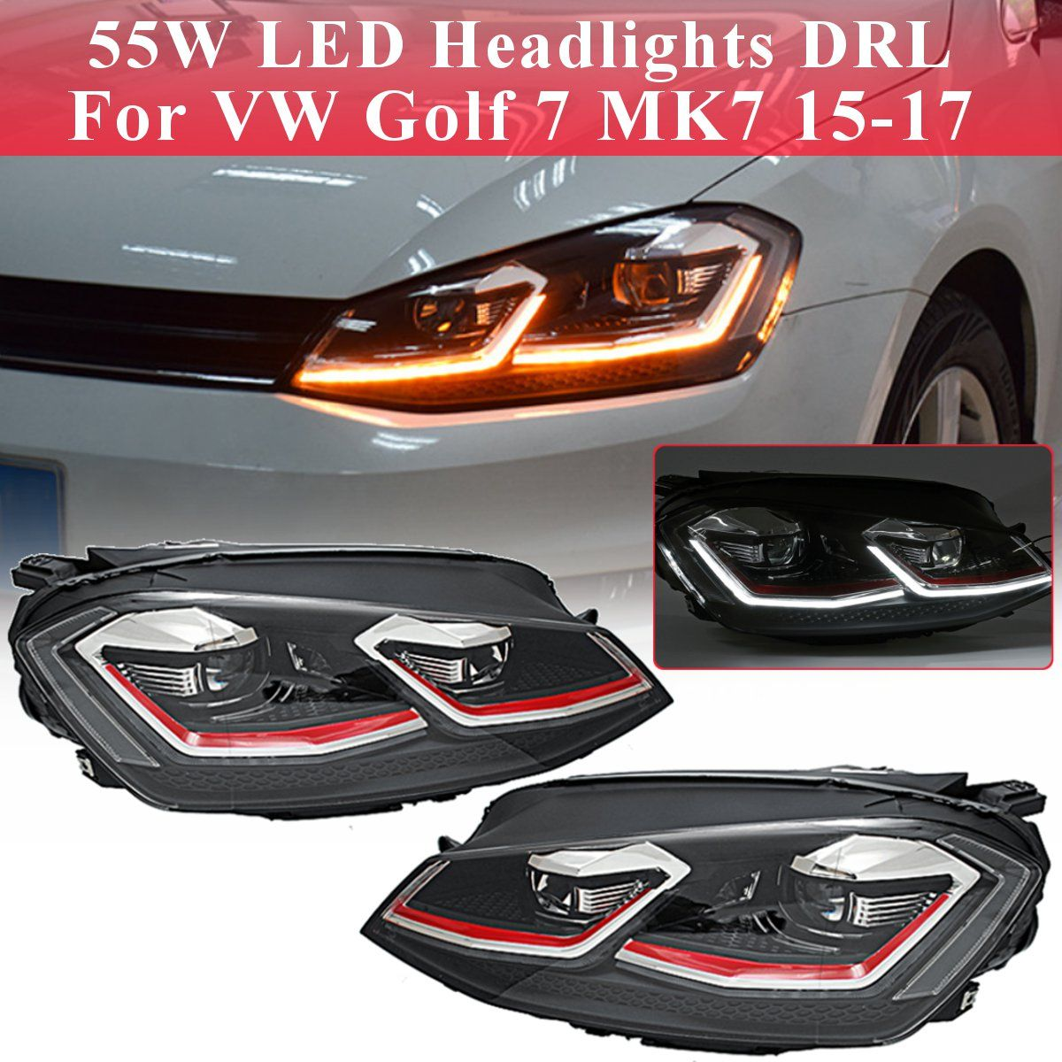 Für VW Golf 7 MK7 Auto Styling Kopf Lampe Fall Klar LED Scheinwerfer DRL Objektiv Doppel Strahl Bi-Xenon für Golf 7 2015 2016 2017