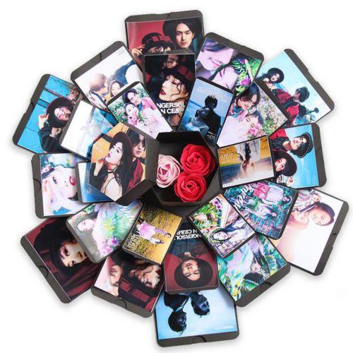 NOUVEAU Hexagone Surprise Explosion Boîte Album à faire soi-même Album Photo Pour La Saint-Valentin Cadeau De Mariage