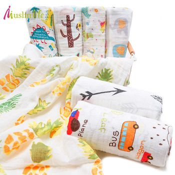 Musnlinfe Cotton Baby Blanket Newborn Swaddle Cotton Muslin Blanket Breathable 110*110cm