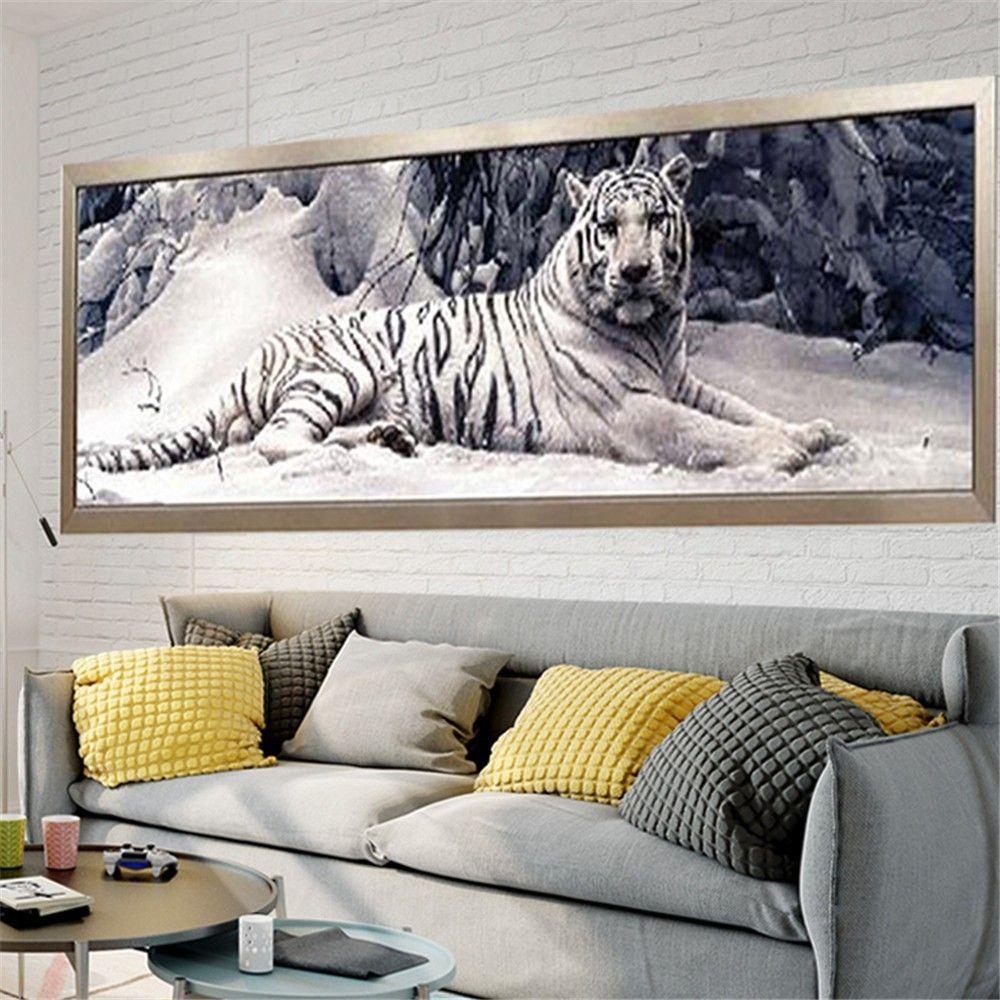 Huacan 5D bricolage diamant peinture tigre partiel rond forage diamant broderie vente Animal photo de strass diamant mosaïque