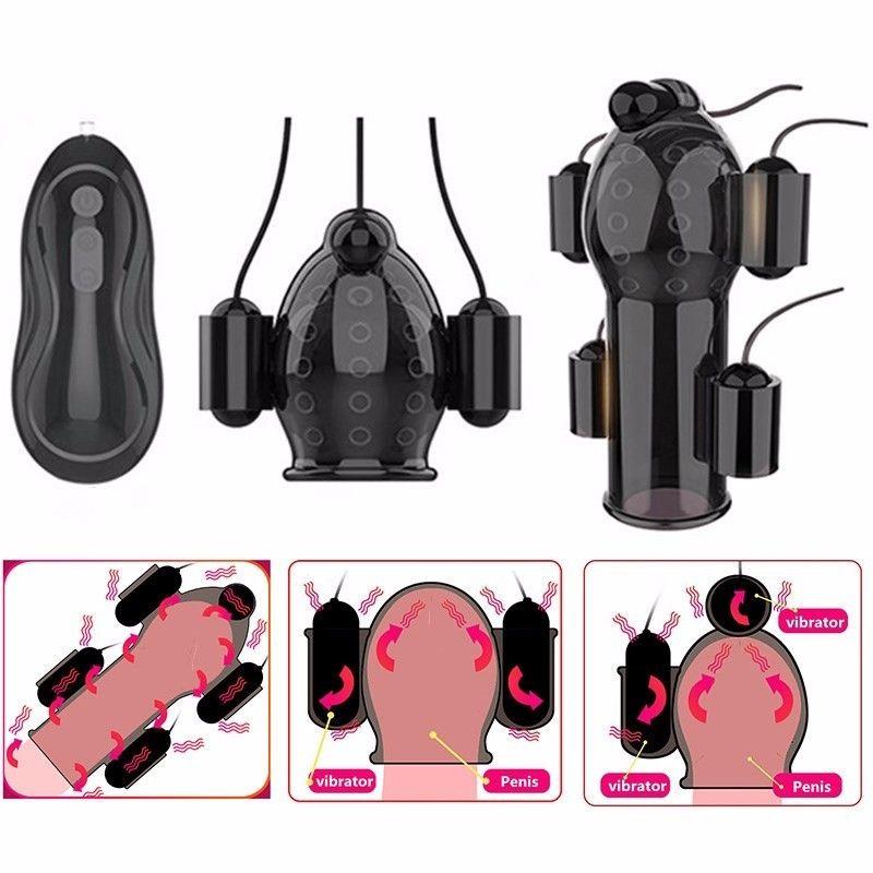 Sex Toys for Men Rechargeable Penis Massager with 5 Vibrators Male Masturbator Delay Lasting Glans Trainer Men's Glans Vibrator