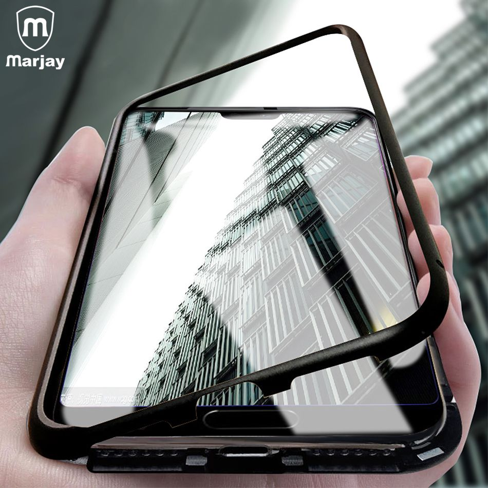Magnetic Adsorption Metal Case For Huawei P20 Lite Mate 10 Pro Mate 20 Lite Case Magnet Glass Case For Huawei Nova 3 2S Honor 10