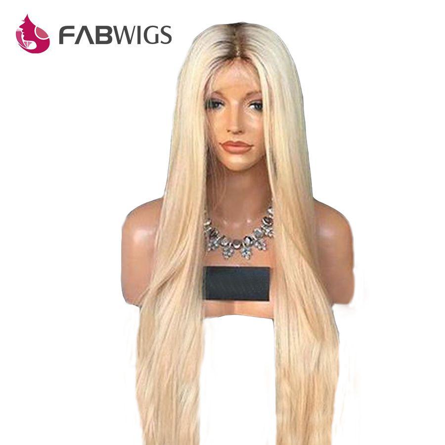 Fabwigs 180% Dichte #4/613 Blonde Spitze Front Menschliches Haar Perücken Brasilianische Remy Ombre Spitze Front Perücke Pre Gezupft mit dark Wurzeln
