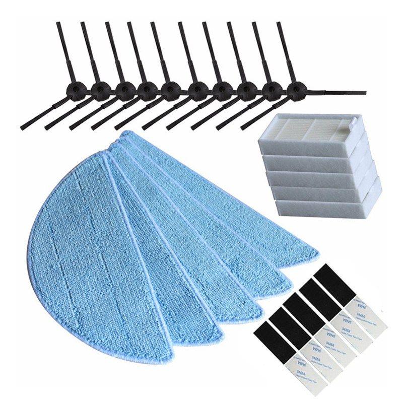 10x Brosse latérale + 5x hepa Filtre + 5 xMop Tissu + 5 xmagic pâte accessoires pour ilife v5s ilife v5 pro x5 V5 V3 V50 aspirateur par