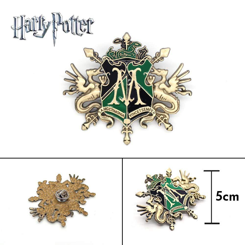 Wellcomics Harri Potter Slytherin Draco Malfoy Familie Symbol Metall Abzeichen Brosche Pin Brust Ornament Cosplay Sammlung Geschenk Kühlen
