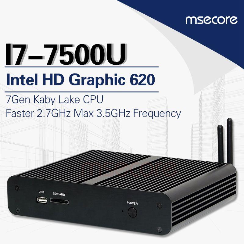 MSECORE sans ventilateur Intel core i7 7500U Mini PC de jeu i5 Windows 10 ordinateur de bureau linux Nettop barebone HTPC HD620 4 K 300 M WiFi