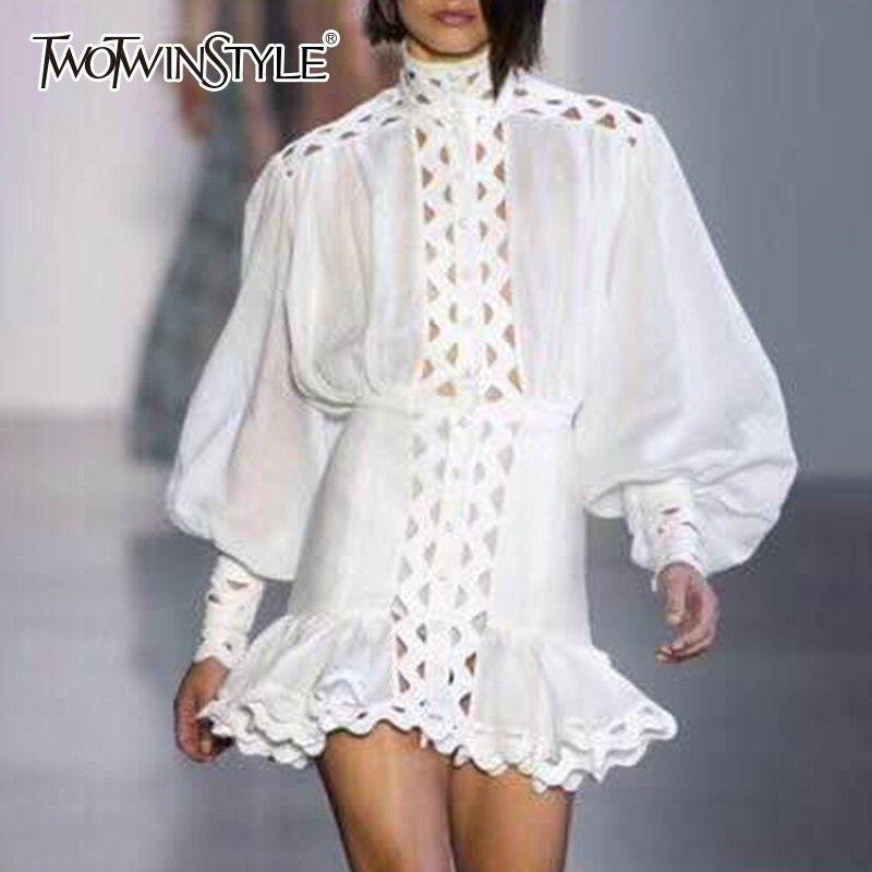Deuxtwinstyle robe moulante femme lanterne à manches longues taille haute évider volants ourlet chemise robes femmes 2019 automne mode