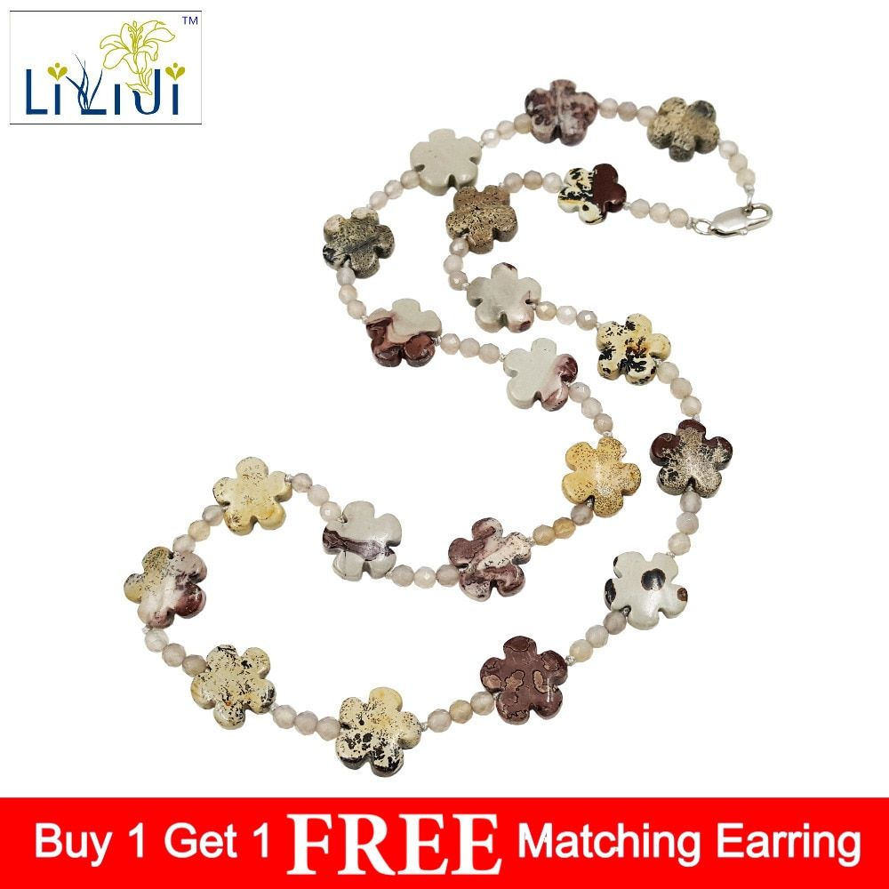 Lii Ji Natural Stone Jasper 15mm Flower Shape Beads,Grey Agate beads ,925 Sterling Silver Clasp Necklace about 60cm