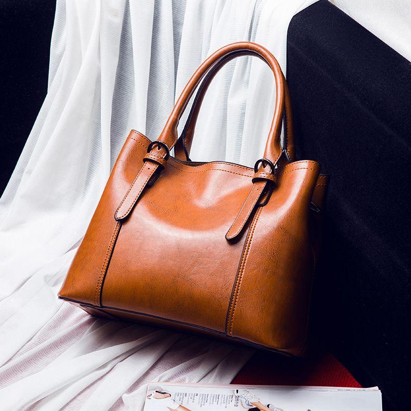 Frauen leder handtaschen vintage Braun Große kapazität casual tote hand taschen frauen quer messenger schulter tasche weibliche 2019 C840