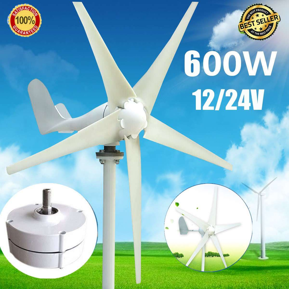 Wind Tur bine Generator Max 600W DC 12V/24V 5 Blade Household Wind Generator 12V/24V 600W Permanent Magnet Generator Tu rbine