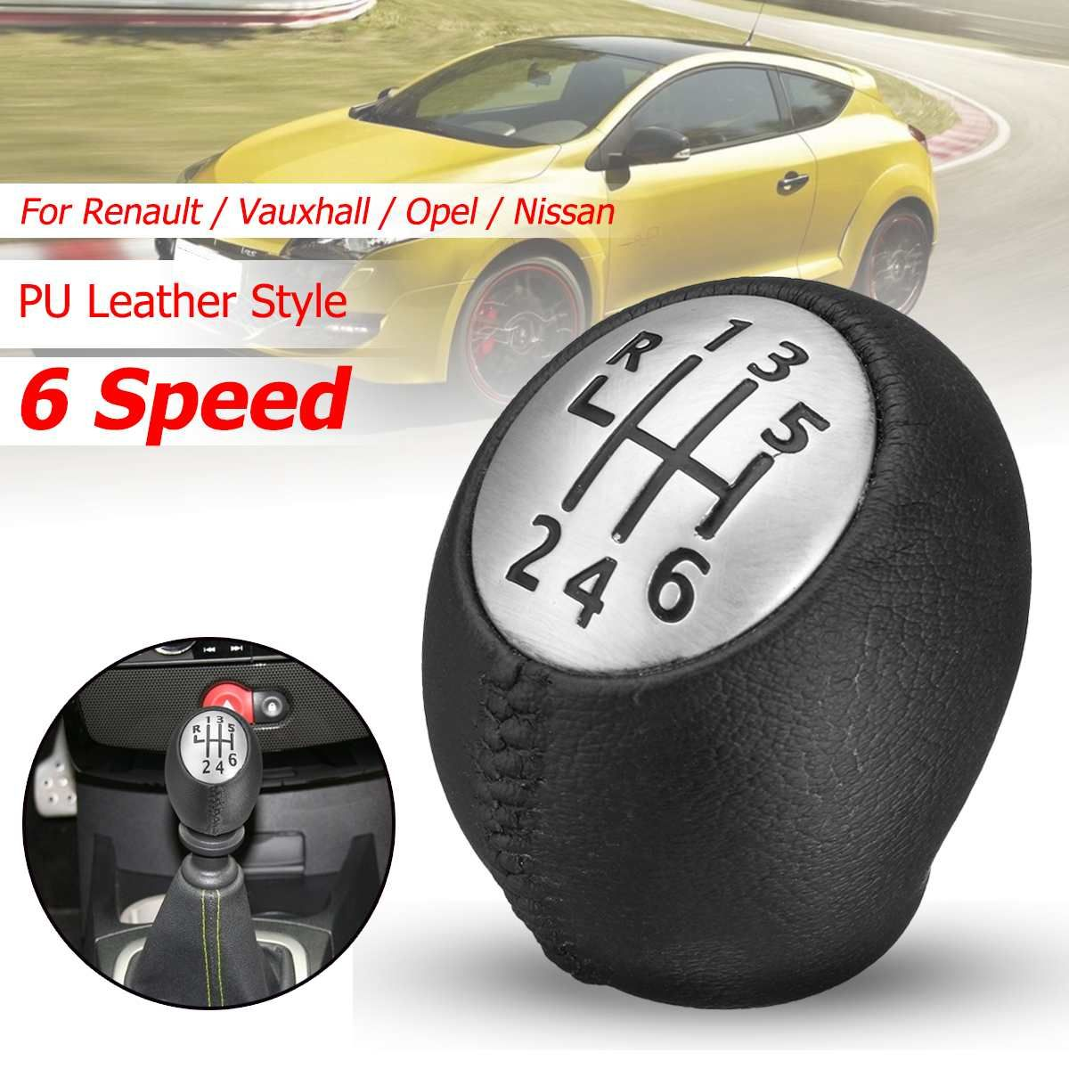 6 Speed PU Leather Gear Shift Shifter Knob Lever Stick for Renault Megane Clio Laguna Scenic For Vauxhall Opel