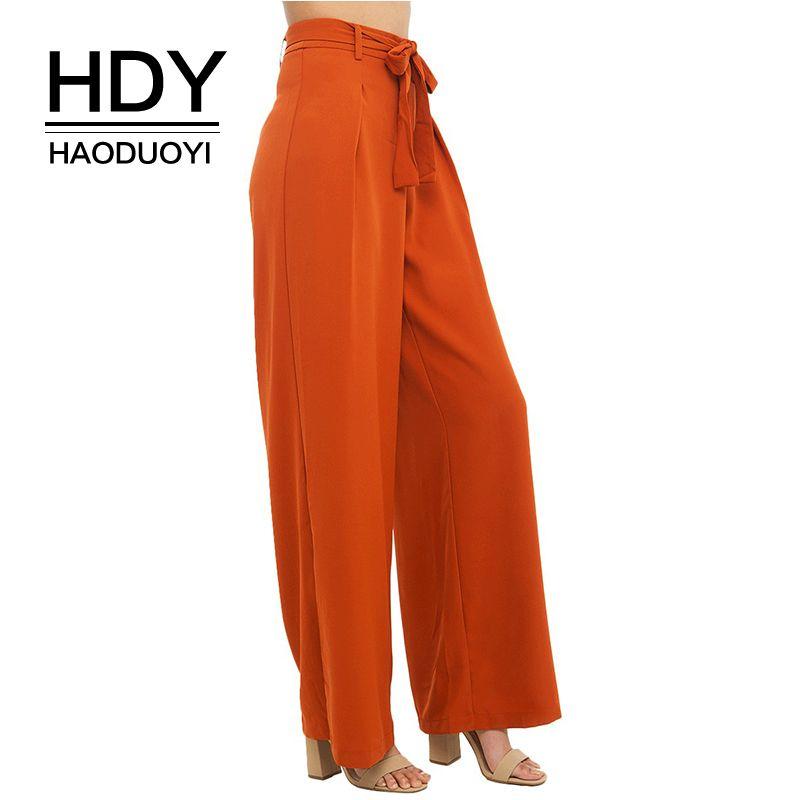HDY Haoduoyi Women Orange Wide Leg Chiffon Pants High <font><b>Waist</b></font> Tie Front Trousers Palazzo OL Elegant Pants Long Culottes Pants
