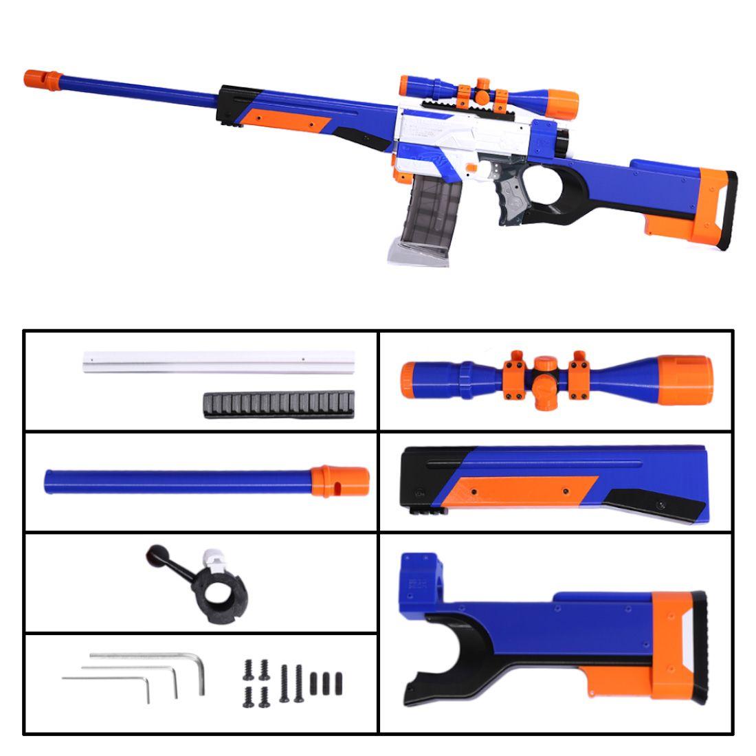 Taktische Kid Spielzeug Pistole 3D Druck Aussehen Änderung Kit für Nerf Retaliator Blasters Zubehör Komponente-Blau