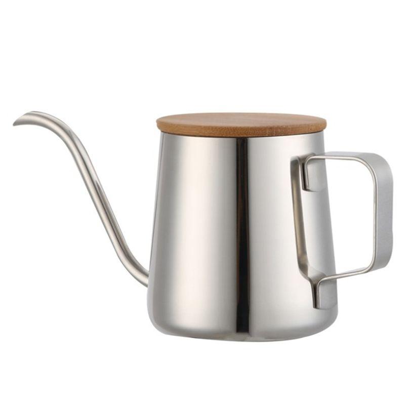 350Ml Long bec étroit cafetière col de cygne bouilloire en acier inoxydable main goutte à goutte bouilloire verser sur café et théière en bois