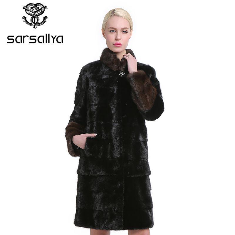 SARSALLYA Natürliche Pelze Frauen Pelz Mäntel Mode Lange Echte Mantel Nerz Pelzmantel Real Nerz Mantel Dicke Warme Mandarin kragen
