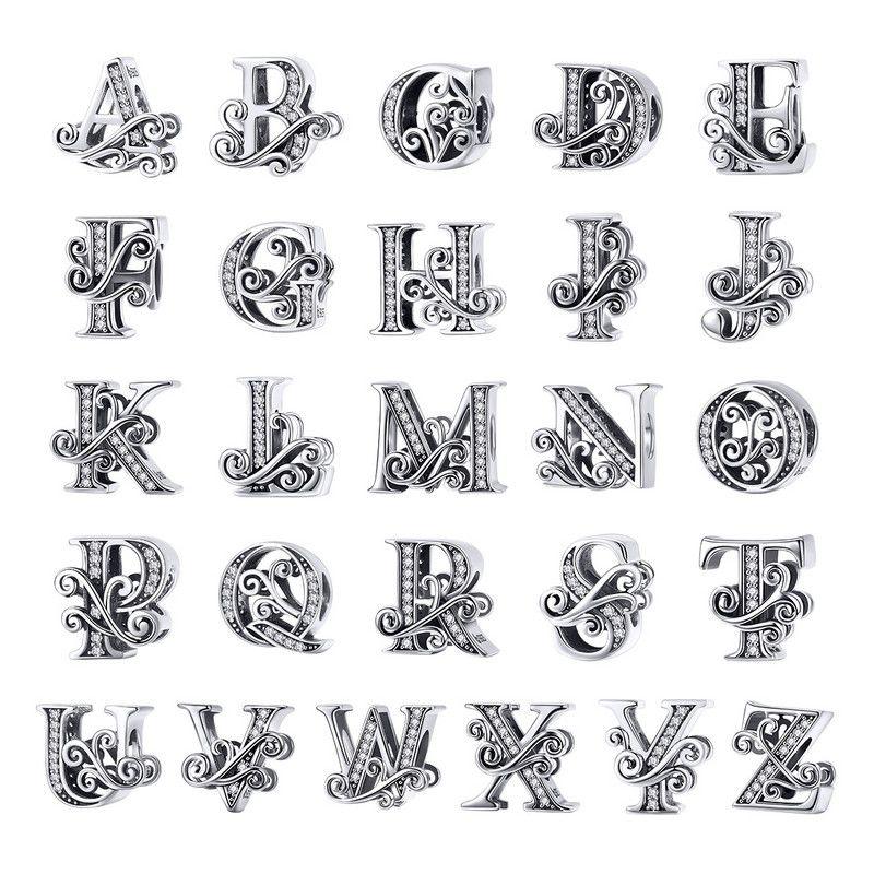 BAMOER Heißer Verkauf 925 Sterling Silber Brief Alphabet A bis Z Perlen Charms Fit Charme Armbänder Armreifen Schmuck Zubehör BSC030