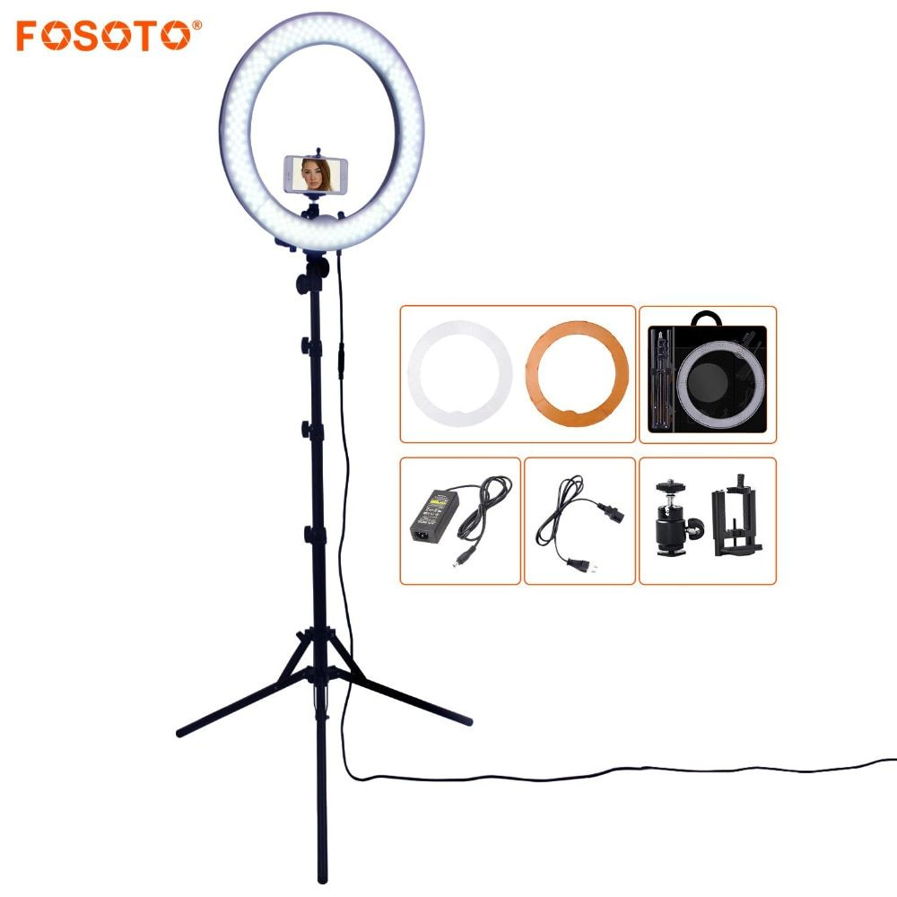 FOSOTO RL-18 55W 5500K 240 LED Photographic Lighting Dimmable Camera Photo/Studio/Phone Photography Ring Light Lamp&<font><b>Tripod</b></font> Stand