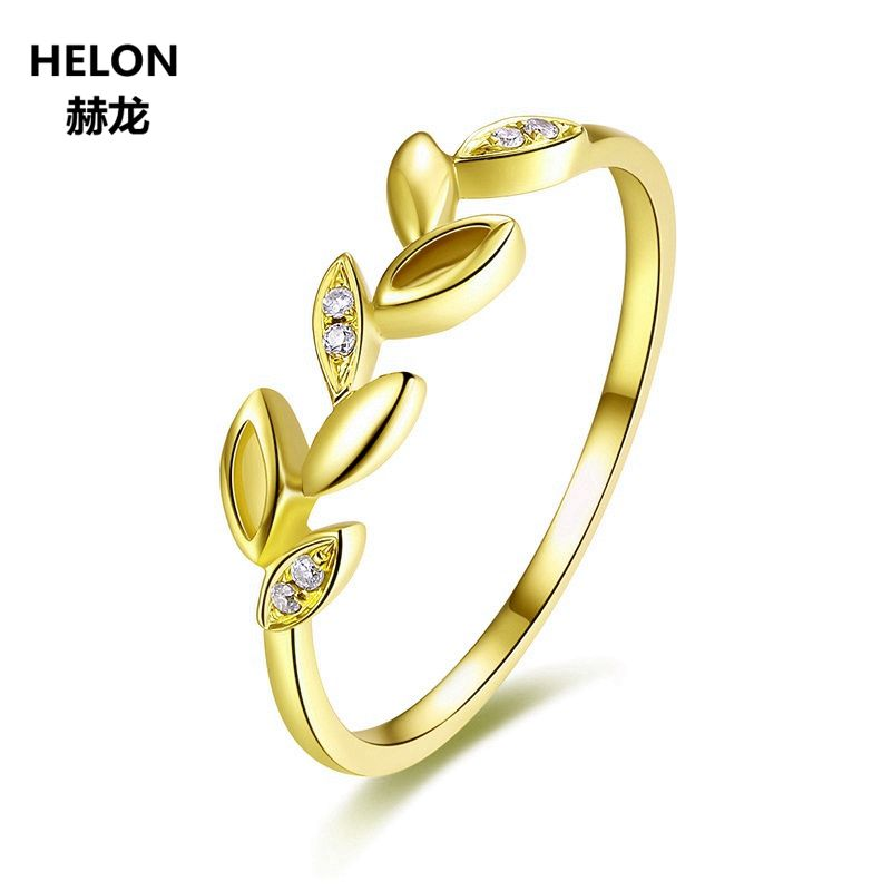 Leaf Solid 14k Yellow Gold Natural Diamonds Engagement Ring Wedding Anniversary Band Fine Jewelry Women Trendy
