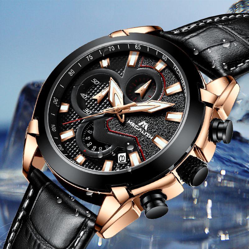 MEGALITH Offizielle Quarz Männer Uhren Mode Echtem Leder Chronograph Uhr Uhr für Sanfte Männer Männlichen Studenten Reloj Hombre