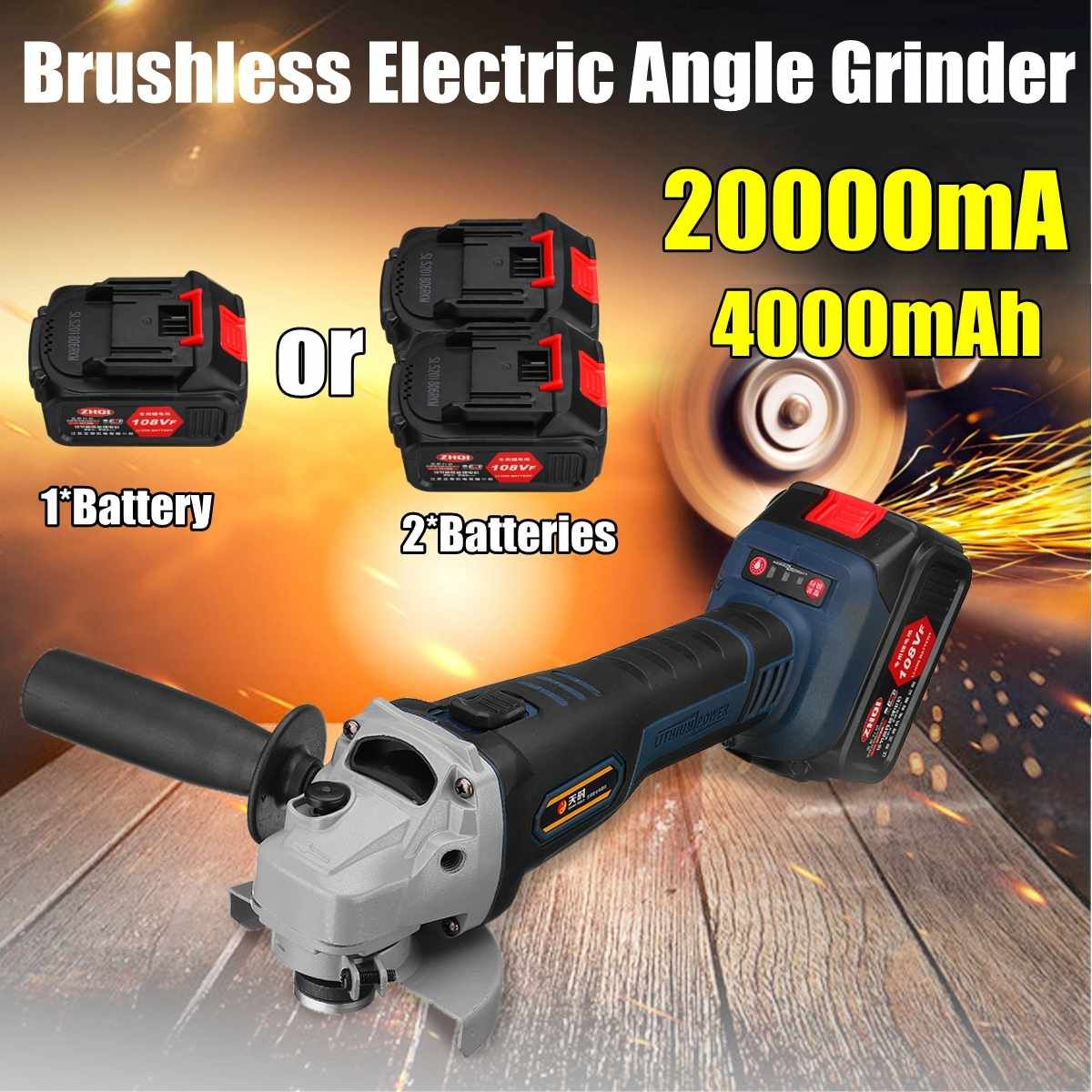 108VF 4000mah 20000mA Cordless Electric Angle Grinder Polisher 110V~220V Machine With 2 Battery WrenchTool