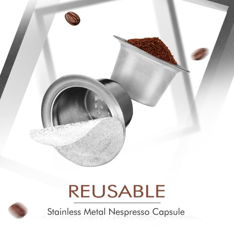 1 schoten 100 Dichtungen Edelstahl Nachfüllbar Nespresso Kaffee Kapsel Wiederverwendbare Nespresso Maschine Espresso Kaffee Maker Tasse Filter