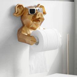 Animal cabeza estatua figurita pañuelos colgantes titular baño lavabo pared decoración hogar rollo de papel caja de pañuelos soporte de pared