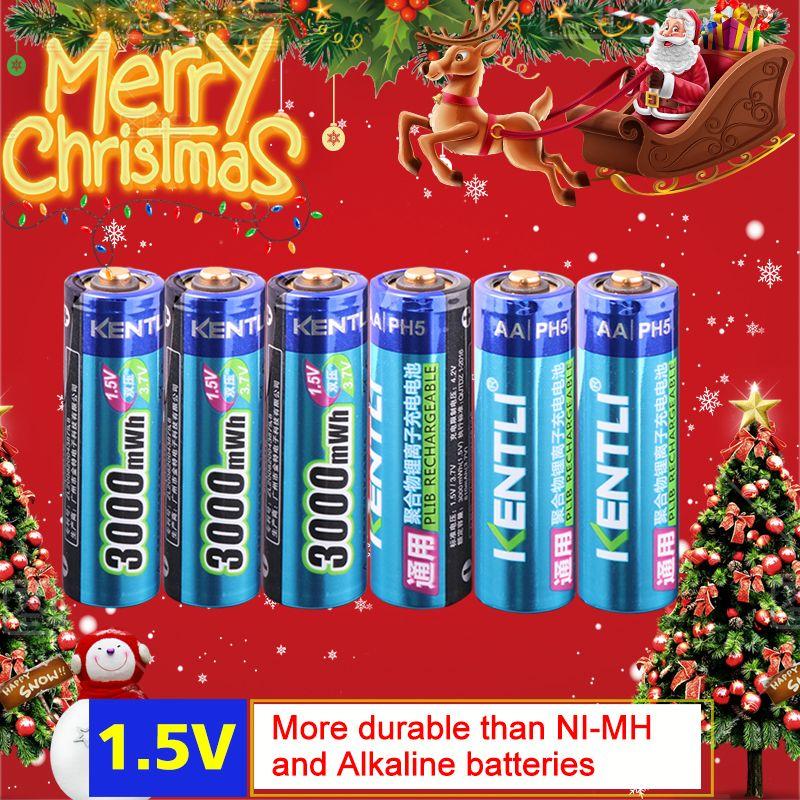 KENTLI 6 pcs/pack Haute Capacité au lithium ion batteries 3000mWh 1.5 v lithium polymère batterie rechargeable AA batterie