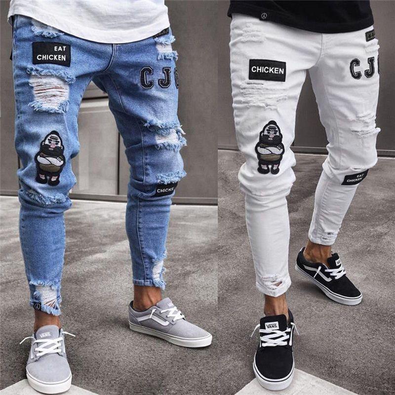 Meihuida hommes mode Vintage déchiré Jeans Super Skinny Slim coupe Zipper Denim pantalon détruit effiloché bande dessinée gothique Style pantalon